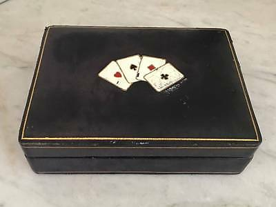 Vintage 1950's Italian Leather Playing Card Box/Case