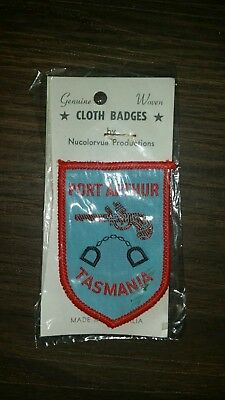 Vintage Tasmanian/act Embroidered Patch Souvenir Woven Cloth Sew Badge
