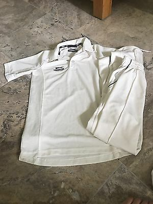 Boys Slazenger Cricket Whites Top and Trousers Age 7/8