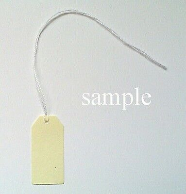 "50 Jewelry Gift Hang Tags with White String 5/8"" x 1-3/8"" - Cream"