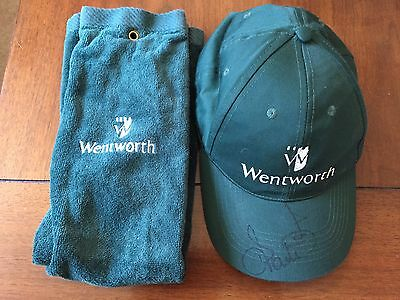 Wentworth Golf Club Bag Towel And Caddy Cap Signed Ian Poulter