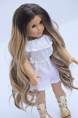 "Custom 10-11"" Doll Wig For 18"" American Girl doll Size Heat Safe Ag OG Ombre"