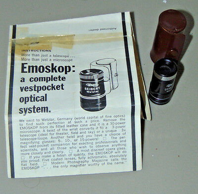 Vintage Emoskop miniature telescope/magnifier pocket optical system, excellent