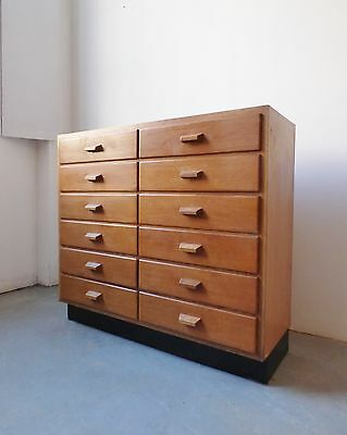 Vintage Industrial Filing Drawers Plan Chest 1950S School Office Lab Storage