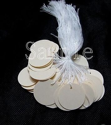 "50 Jewelry Gift Hang Small Circle Tags with White String 1"" x 1"" - Cream"
