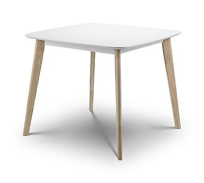 Julian Bowen Casa White Limed Oak Square Dining Table Solid Wood Modern Retro