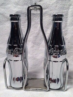 Coca-Cola Brand Salt & Pepper Shakers With Rack Metal Shaped Bottles! New Wb