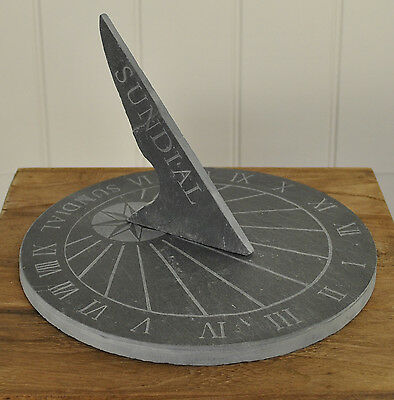 Large Round Slate Garden Sundial with Roman Numerals by Fallen Fruits (25cm dia)