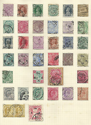 India - 2 Album pages of stamps - QV-KGVI - Mainly used
