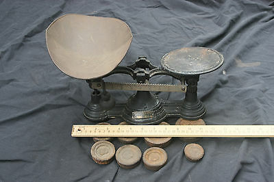 Henry Troemner 2 lb.  #4 Cast Iron Counter Balance Scale w/Scoop & 8 Weights