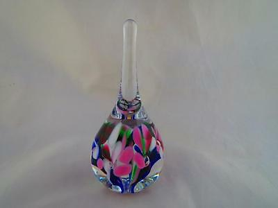 1996 Gibson Studio Art Glass Teardrop Paperweight Pink/White Flowers Signed