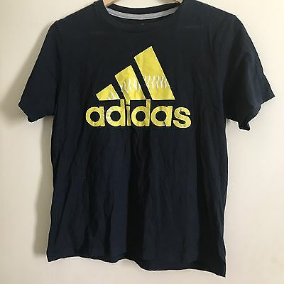 Vintage Navy And Yellow Adidas T Shirt