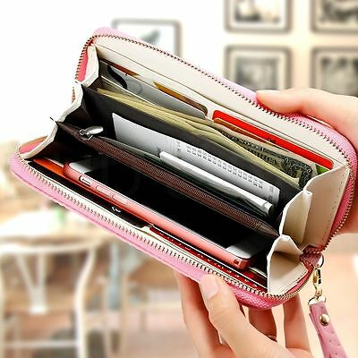 2017 New Lady Pink Purse Leather Clutch Handbag Women Wallet Long Card Holder