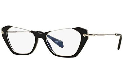 Miu Miu VMU 04O 1AB-1O1 Rasoir Black Silver New Authentic Eyeglasses 52mm w Box