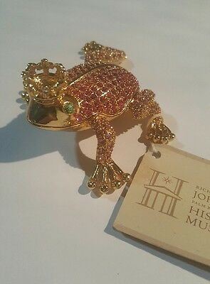 Princess Frog Jewelry Box Bejeweled Pink Frog with Crown Trinket Box Pill Box