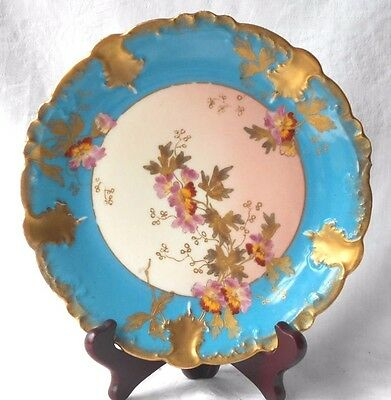 C19Th Limoges Plate With Hand Painted Flowers And Gilding