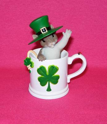 Charming Tails YOU'RE ONE LUCKY MUG  Irish Mouse in Clover Leaf mug 4020491