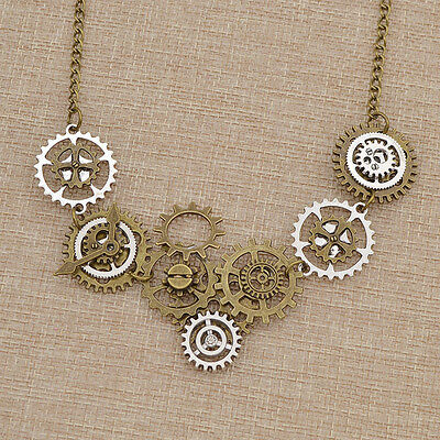 Steampunk Gothic Gear Clock Pendant Chain Necklace Retro Style Jewelry Gift