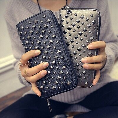Women Leather Purse Punk Rivet Clutch Handbag Card Holder Long Wallet Phone Bag