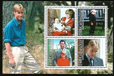 Prince William 18Th Birthday Mint Souvenir Sheet From Gibraltar Princess Diana
