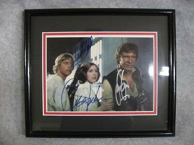 USED Star Wars Autographed panel Mark Hamill Carrie Fisher Harrison Ford JPN F/S