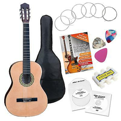 Classical Acoustic Concert Guitar 4/4 Size For Beginners Picks Gigbag Pitchpipe