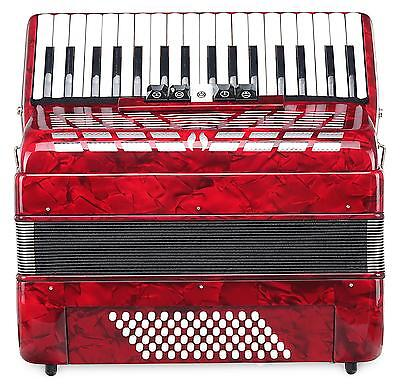 Accordion 72 Bass Buttons 34 Treble Keys Piano Concertina Case Straps Set Red