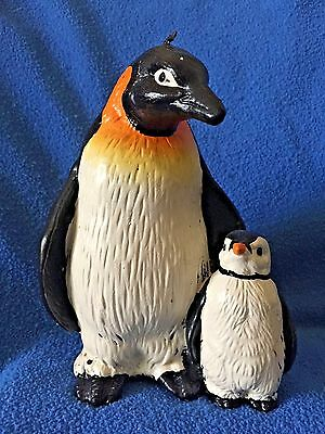 "PENGUINS! 5.5"" Decorative Adult Emperor & Chick Candle Made in FL pre 1990"
