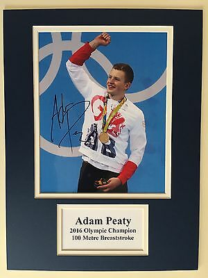"""Swimming Adam Peaty Signed 16"""" X 12"""" Double Mounted Display"""