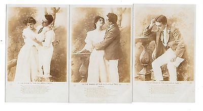 2201   Rppc Song Card Set Of Three -The Shade Of The Old Apple Tree By R Allen