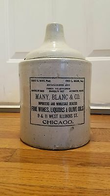 Extremely Rare, Early 1900S Chicago Illinois Adv. Stoneware Jug  Pottery No Resr