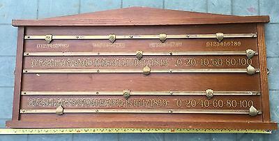 Vintage Wood and Brass Four Handed Snooker Score Board in Good Condition