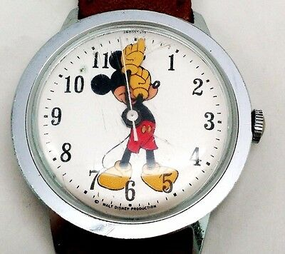Vintage 1970s Mickey Mouse Watch Timex Mechanical/Analog Walt Disney Productions