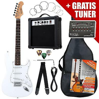 Electric Guitar Pack Amplifier Tuner Strings Gigbag Cable Strap Plectrums White