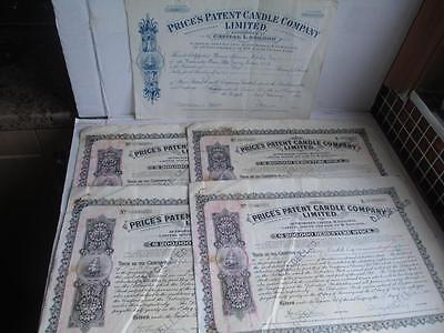 5 VINTAGE SHARE STOCK BOND CERTIFICATES PRICE'S PATENT CANDLE COMPANY. c 1913-55
