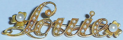 ANTIQUE 9ct GOLD AND PEARL NAME BROOCH PIN