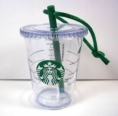 Starbucks 2014 Clear Cup Green Christmas Ornament