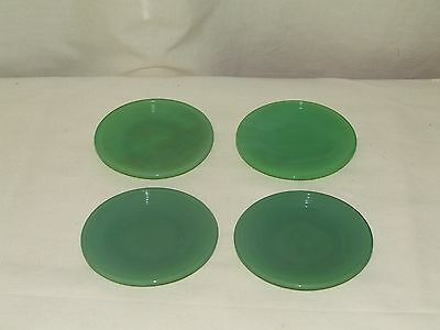 4 Akro Agate Green Jadeite Childrens Tea Party 3.25 Stacked Disc Ring Plates