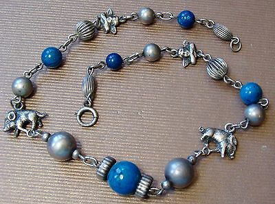 Antique Vintage Sterling Silver Agate Boar Putti Angel Spun Beads Necklace
