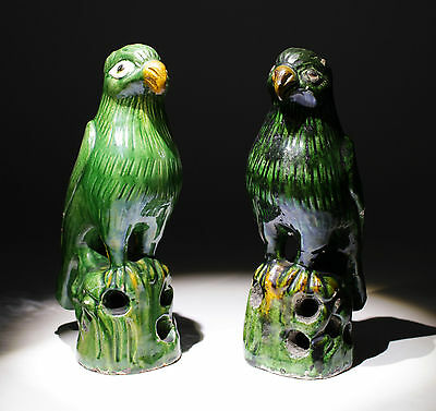 Pair Of 19Th Century Chinese Ming Dynasty Style Glazed Ceramic Parrots - Nr