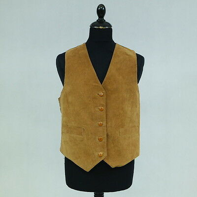 Vintage Mens Brown Retro Real Leather Casual Waistcoat Vest SIZE M