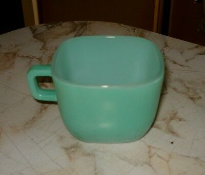 Vintage Glasbake Lipton promotional square cup - green