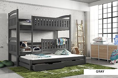 3ft BUNK BED GRAY PINE TRIPLE WOODEN FRAME & STORAGE , HEAVY !