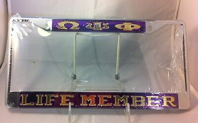 Omega Psi Phi Fraternity Life Member License Plate Frame-Purple/Gold-New!