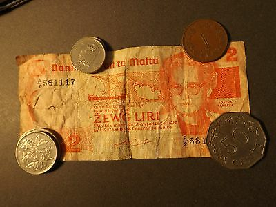 Malta Over 3 Lira In Note And Coins