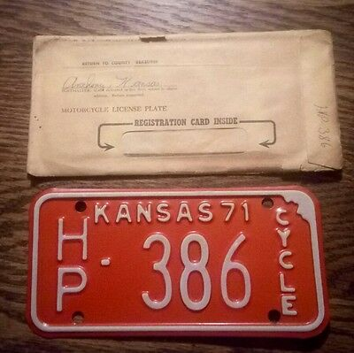 1971 Kansas Motorcycle license plate ~ Never Used Mint Cond. w/Original Envelope