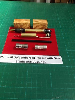 Churchill Rollerball  Pen Kit in Gold with drilled Olive Wood Blanks & Bush Set