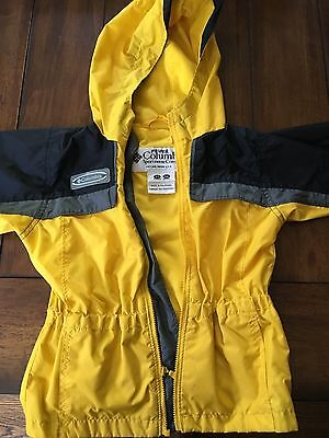 Columbia Jacket Boys Size 3T Windbreaker Yellow with grey and black sleeves