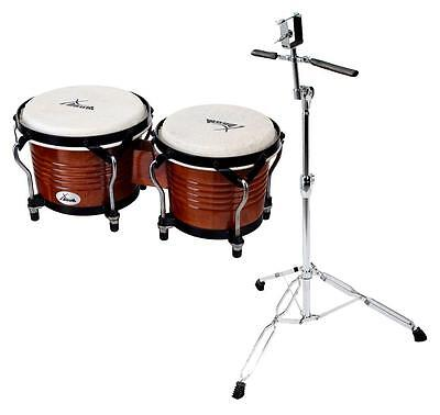 Set Bongos Instrument Percussion Batterie De Main Support Tabac Professionnel