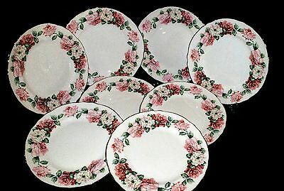 8 Crown Staffordshire England Bone China Trinity Rose Plates Scall Gold Trim